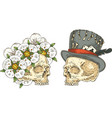 two skulls with decor vector image