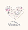 valentine day sticker love heart form vector image vector image