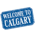 welcome to Calgary blue square grunge stamp vector image vector image