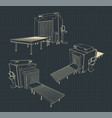 x-ray baggage scanner blueprints vector image