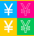 yen sign four styles of icon on four color vector image