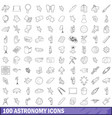 100 astronomy icons set outline style vector image vector image