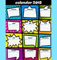 2018 calendar pop art template vector image vector image