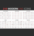 210 modern red black thin line icons set school vector image vector image