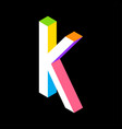 3d colorful letter k logo icon design template vector image