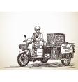 Asian street food on motorbike vector image vector image