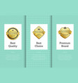 best quality choice labels set vector image vector image