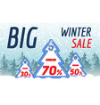 big winter sale concept banner cartoon style vector image vector image