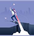 businessman flying on rocket from rock gap vector image vector image