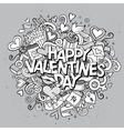 Cartoon hand drawn Doodle Happy Valentines vector image vector image