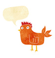 cartoon hen with speech bubble vector image vector image