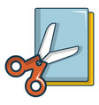 Colorful paper scissors icon cartoon style