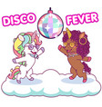cool unicorns dancing at disco under vector image
