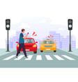 crosswalk accident pedestrian with smartphone and vector image