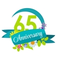 Cute Nature Flower Template 65 Years Anniversary vector image vector image