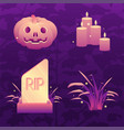 dark violet halloween icon set vector image vector image
