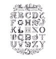 decorative alphabet typographic poster vector image vector image