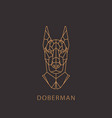 doberman dog in geometric modern style vector image vector image