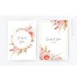 elegant wedding floral invite card peach roses vector image vector image