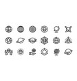 globe line icons world earth outline symbols vector image