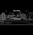 goa silhouette skyline india - goa city vector image vector image