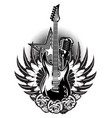 guitar microphone wings roses on the poster for vector image vector image