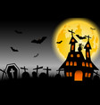 halloween background with haunted house and black vector image