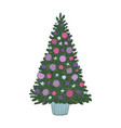 hand drawn decorated christmas tree colored vector image
