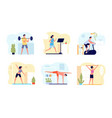 home training man activity practicing exercise vector image vector image