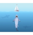 Hungry Shark with big jaw Attack yacht sheep from vector image vector image