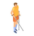 invalid person with crutches icon isometric style vector image