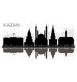 kazan russia city skyline black and white vector image vector image