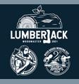 lumberjack logos for timber wood carving studio vector image vector image