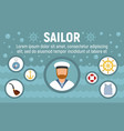 marine sailor concept banner flat style vector image