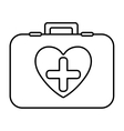 monochrome contour with firts aid kit with symbol vector image vector image