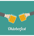 Oktoberfest Two hands and clink beer glasses mug vector image