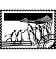 Postage stamp with the penguins vector image vector image
