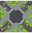 Road intersection with cars Top view vector image vector image