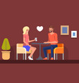 romantic date in cafe girl meeting boyfriend flat vector image