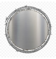 round metal plate with barbed wire vector image