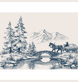 rural idyllic landscape horse cart vector image vector image