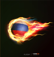 Russia flag with flying soccer ball on fire vector image vector image