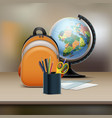 school bag with globe vector image vector image