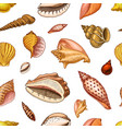 seamless pattern shells or mollusca different vector image vector image