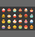 set of cupcake in various style flat design icon vector image vector image