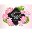 summer sale banner poster with jungle leaf vector image vector image