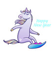 unicorn snowboarding cute cartoon unicorn vector image