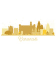 varanasi city skyline golden silhouette vector image