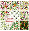 Veggies vegetables seamless patterns set vector image vector image