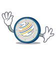 waving factom coin character cartoon vector image vector image